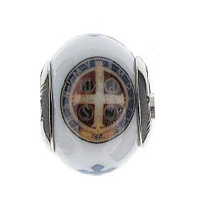 Passante charm bracciale vetro Murano argento 925 Medaglia San Benedetto
