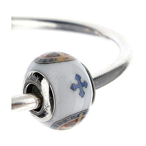 Passante charm bracciale vetro Murano argento 925 Medaglia San Benedetto 3