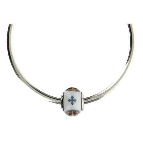 Passante charm bracciale vetro Murano argento 925 Medaglia San Benedetto 5