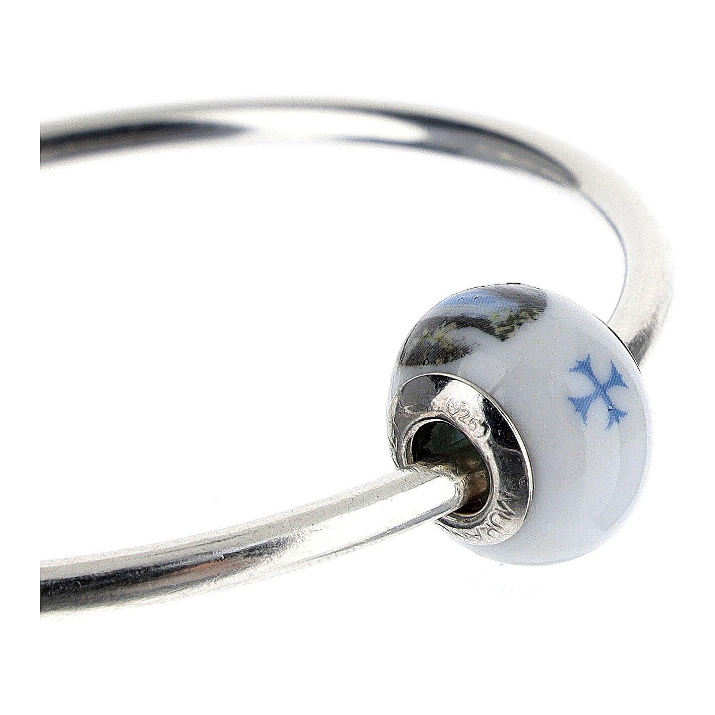 Perla pasante pulseras collares Virgen Lourdes vidrio Murano plata 925 4