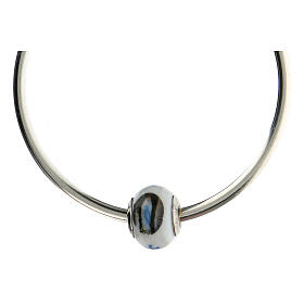 Perla pasante pulseras collares Virgen Lourdes vidrio Murano plata 925 s4