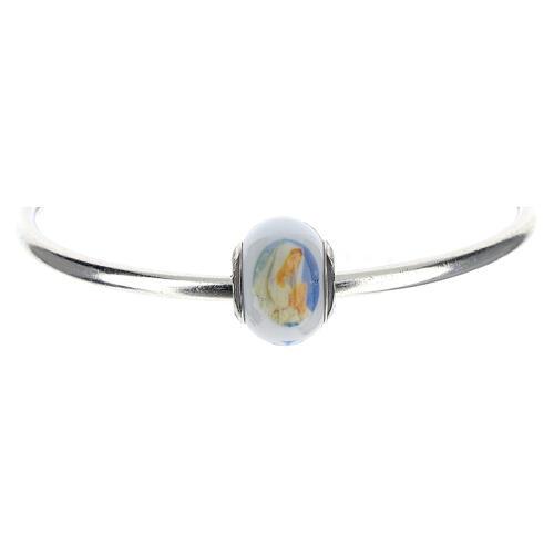 Perla pasante pulseras collares Virgen Lourdes vidrio Murano plata 925 1
