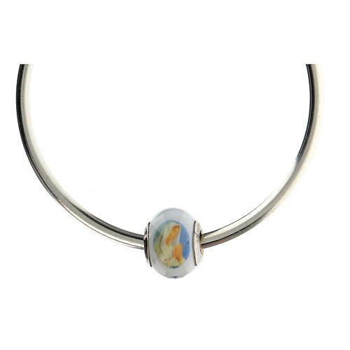 Perla pasante pulseras collares Virgen Lourdes vidrio Murano plata 925 5