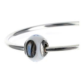 Perle passante bracelet collier Notre-Dame de Lourdes verre Murano argent 925