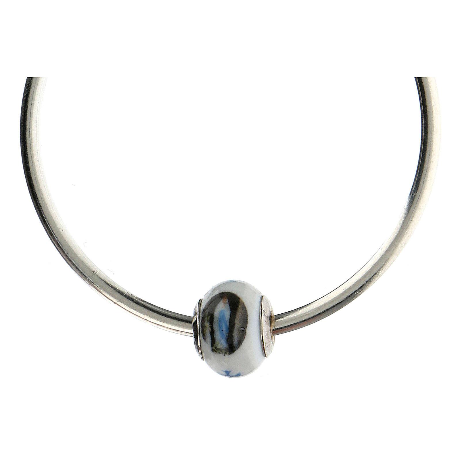 Perla passante bracciali collane Madonna Lourdes vetro Murano argento 925 4