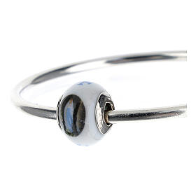Charm/berloque para pulseira vidro de Murano e prata 925 imagens Nossa Senhora de Lourdes