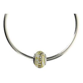 Pendentif passant pour bracelet Pater Noster verre Murano argent 925 s5