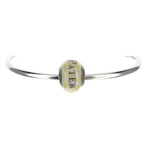 Pendentif passant pour bracelet Pater Noster verre Murano argent 925 1