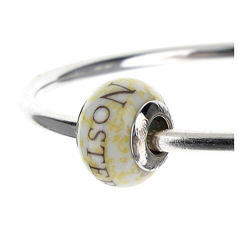 Pendentif passant pour bracelet Pater Noster verre Murano argent 925 2