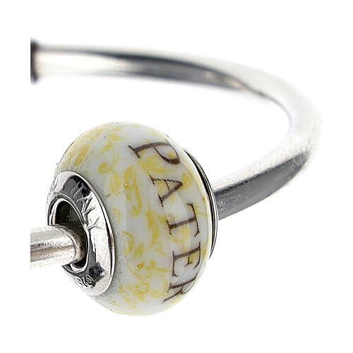 Pendentif passant pour bracelet Pater Noster verre Murano argent 925 3