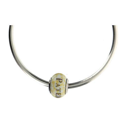 Pendentif passant pour bracelet Pater Noster verre Murano argent 925 4