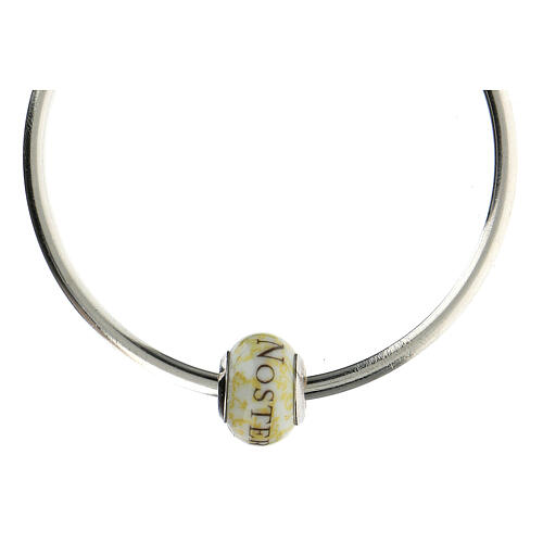 Pendentif passant pour bracelet Pater Noster verre Murano argent 925 5