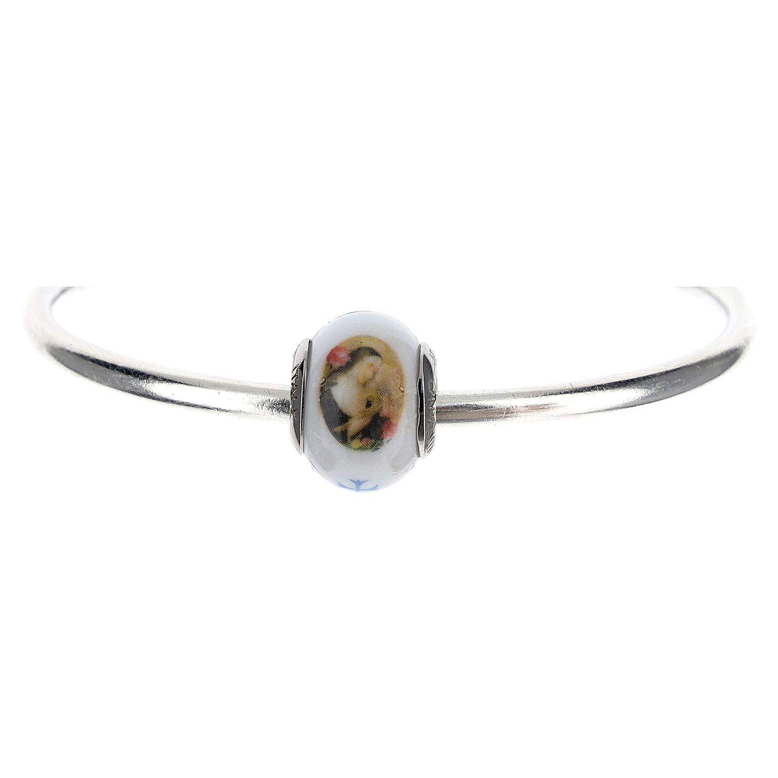 Colgante Santa Rita para pulseras vidrio Murano plata 925 4