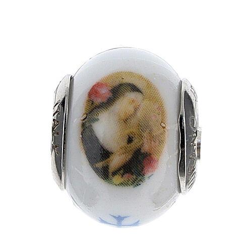 Colgante Santa Rita para pulseras vidrio Murano plata 925 1