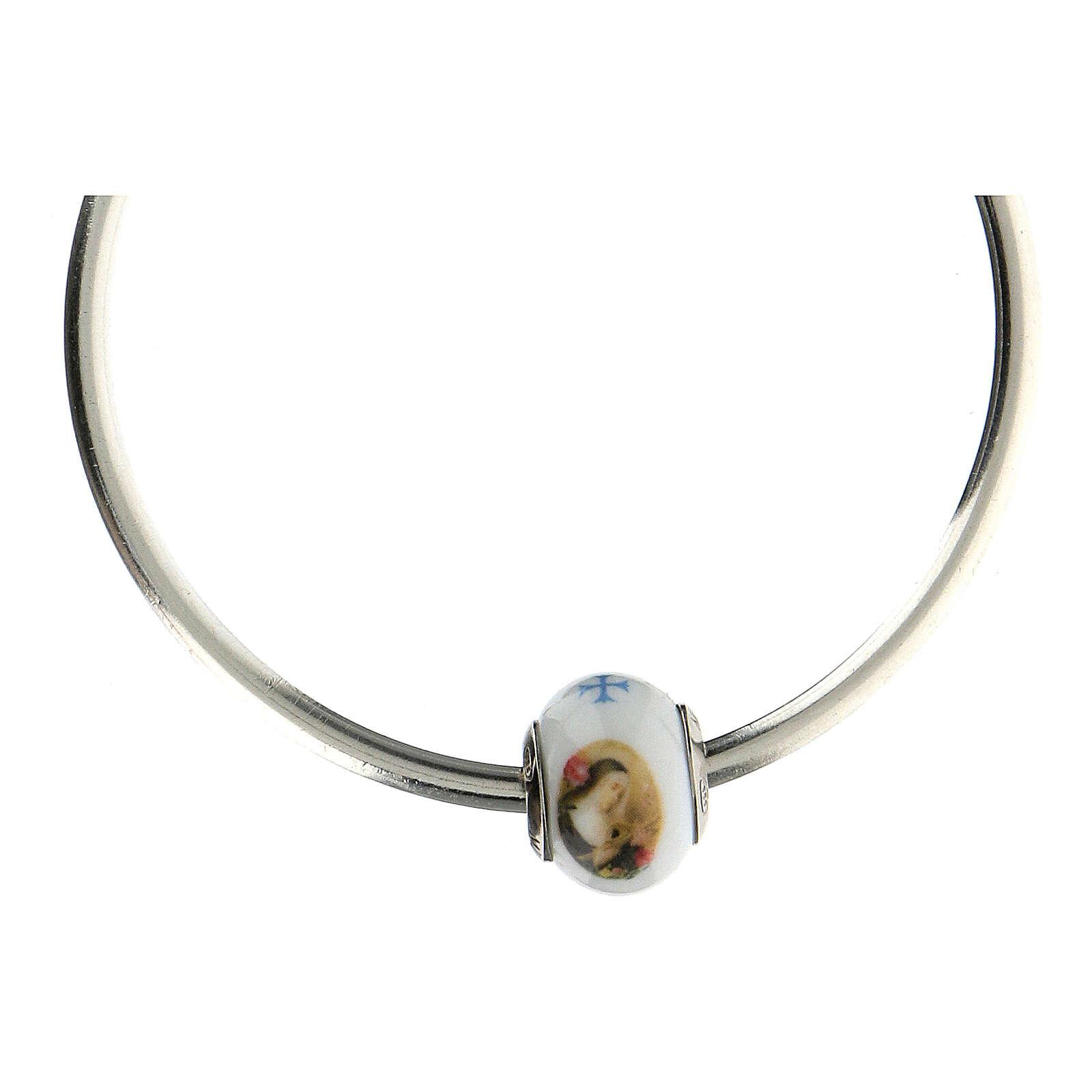 Pendentif charm Sainte Rita pour bracelets verre Murano argent 925 4