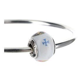 Pendentif charm Sainte Rita pour bracelets verre Murano argent 925 s3