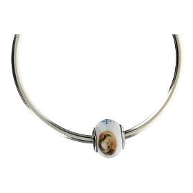 Pendentif charm Sainte Rita pour bracelets verre Murano argent 925 s4