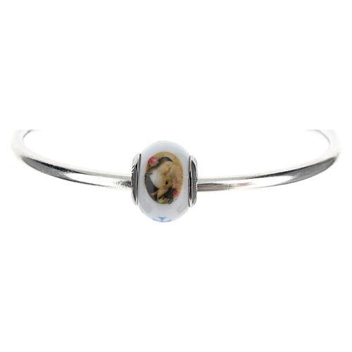 Pendentif charm Sainte Rita pour bracelets verre Murano argent 925 1