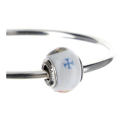 Pendentif charm Sainte Rita pour bracelets verre Murano argent 925 3