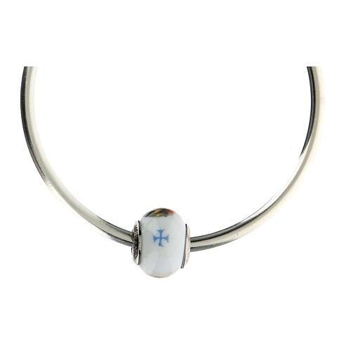 Pendentif charm Sainte Rita pour bracelets verre Murano argent 925 5