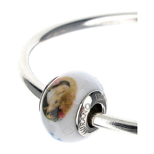 Bead charm St Rita for bracelets Murano glass 925 silver 2