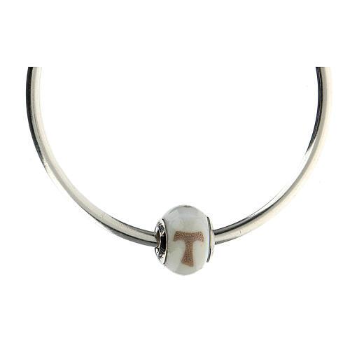 Charm verre Murano argent 925 croix Tau pour bracelet 4