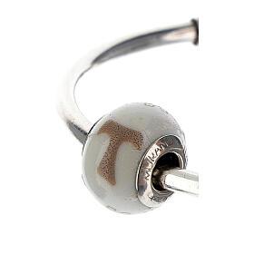 Charm vetro Murano argento 925 Croce Tau per bracciale s2
