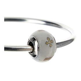 Charm vetro Murano argento 925 Croce Tau per bracciale s3