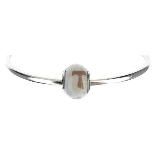 Charm vetro Murano argento 925 Croce Tau per bracciale 1