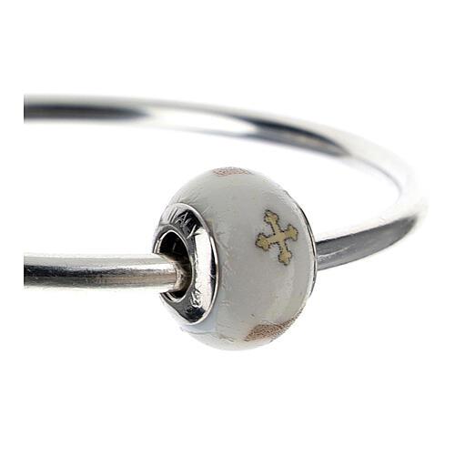 Charm vetro Murano argento 925 Croce Tau per bracciale 3