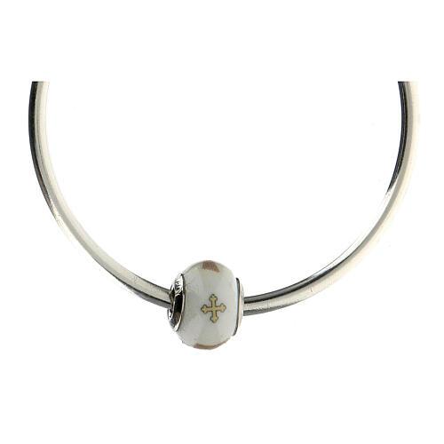 Charm vetro Murano argento 925 Croce Tau per bracciale 5