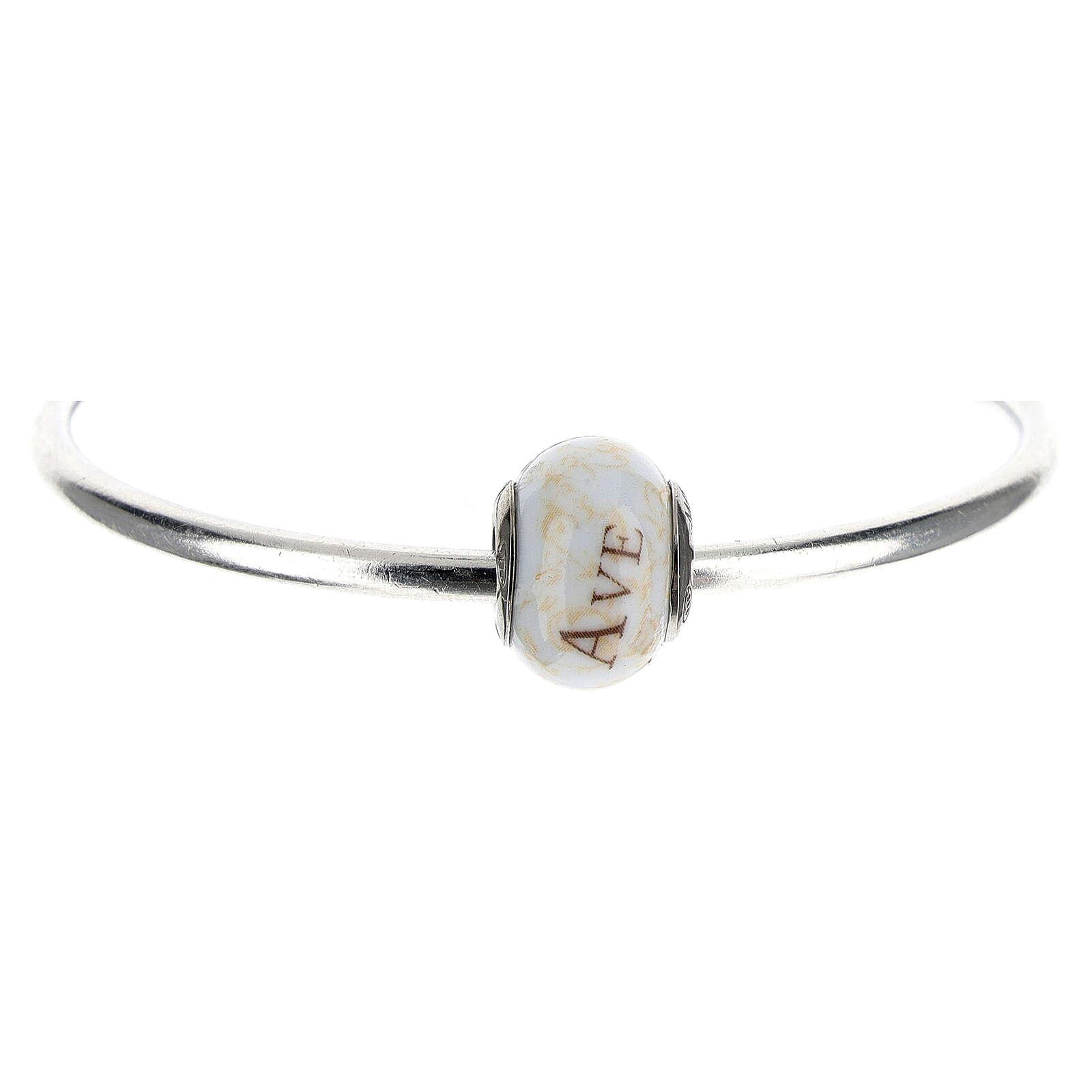 Pendentif passant pour bracelets colliers Ave Maria verre Murano argent 925 4