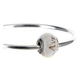 Pendente passante per bracciali collane Ave Maria vetro Murano argento 925 s3
