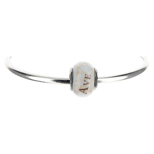 Pendente passante per bracciali collane Ave Maria vetro Murano argento 925 1