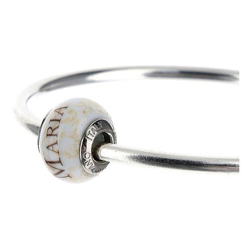 Pendente passante per bracciali collane Ave Maria vetro Murano argento 925 2