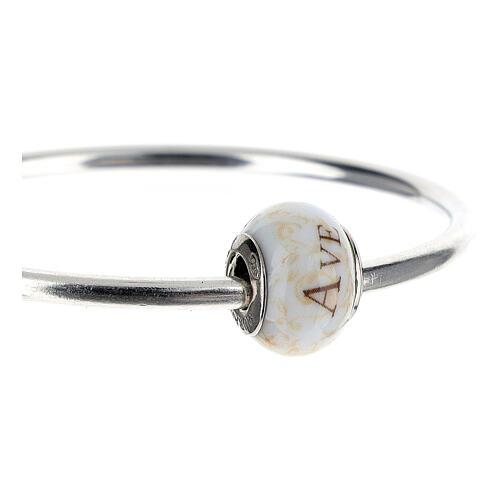 Pendente passante per bracciali collane Ave Maria vetro Murano argento 925 3