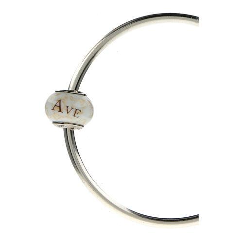 Pendente passante per bracciali collane Ave Maria vetro Murano argento 925 4