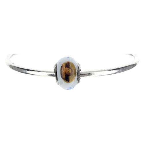 Colgante pasante angelitos vidrio Murano plata 925 para pulseras 1