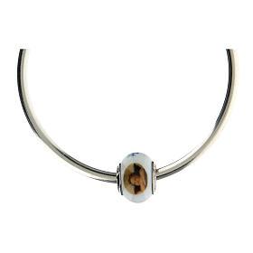 Bead charm little angel Murano glass 925 silver for bracelets s4