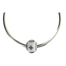 Passant charm Christ Miséricordieux pour bracelets verre Murano argent 925 s5