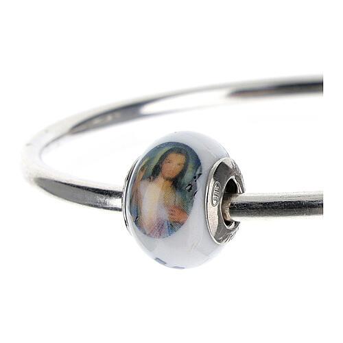 Passant charm Christ Miséricordieux pour bracelets verre Murano argent 925 2