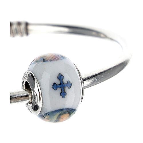 Passant charm Christ Miséricordieux pour bracelets verre Murano argent 925 3