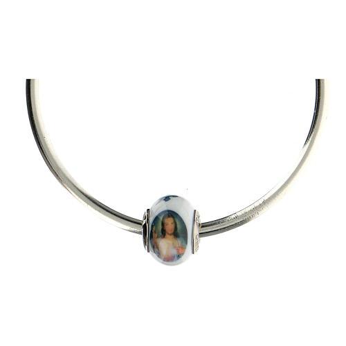 Passant charm Christ Miséricordieux pour bracelets verre Murano argent 925 4
