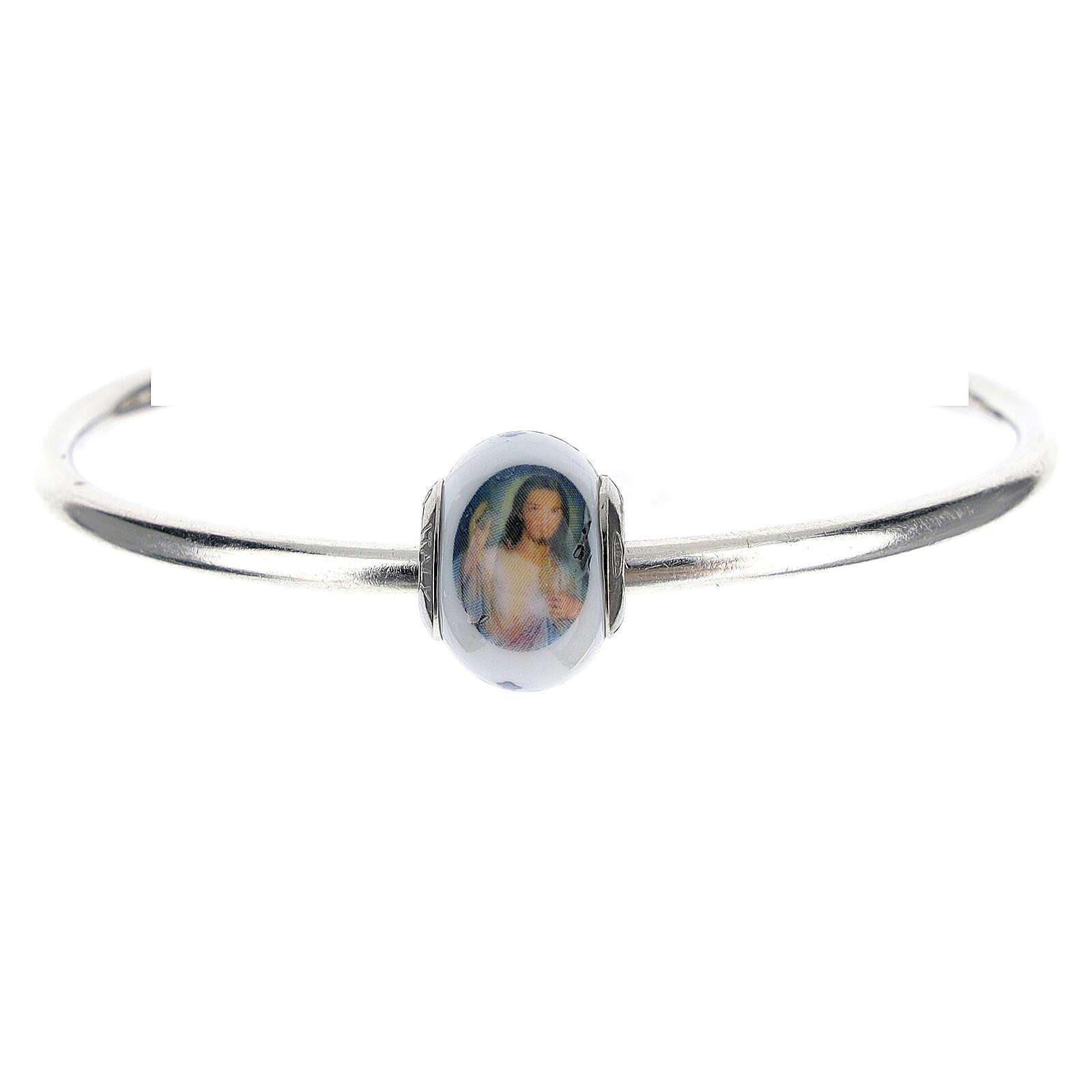 Passante charm Gesù Misericordioso per bracciali vetro Murano argento 925 4