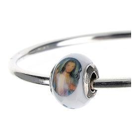 Passante charm Gesù Misericordioso per bracciali vetro Murano argento 925 s2