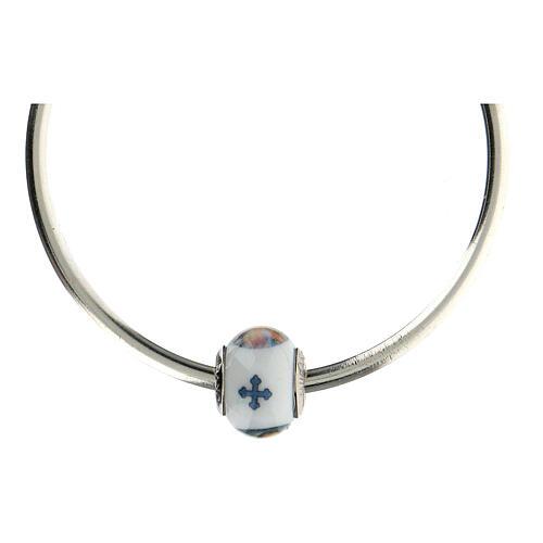 Passante charm Gesù Misericordioso per bracciali vetro Murano argento 925 5