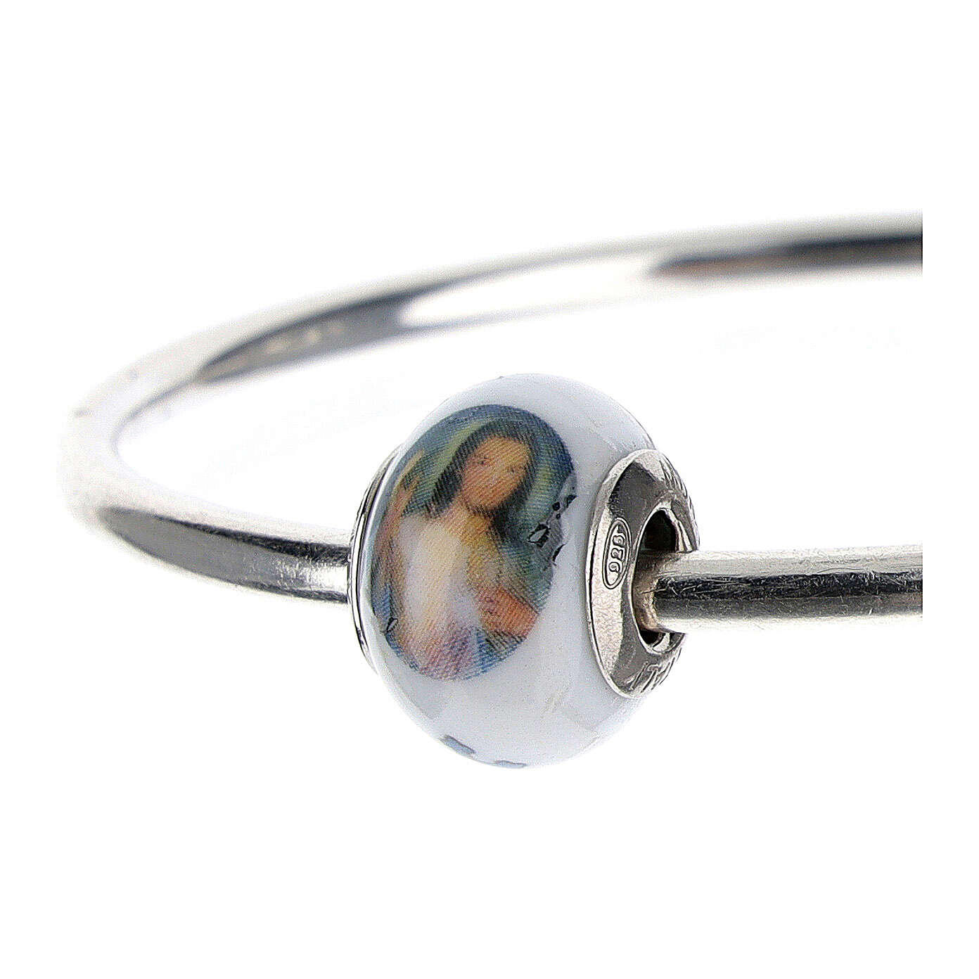 Bead charm of Divine Mercy Jesus for bracelets Murano glass 925 silver 4
