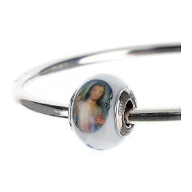 Bead charm of Divine Mercy Jesus for bracelets Murano glass 925 silver s2