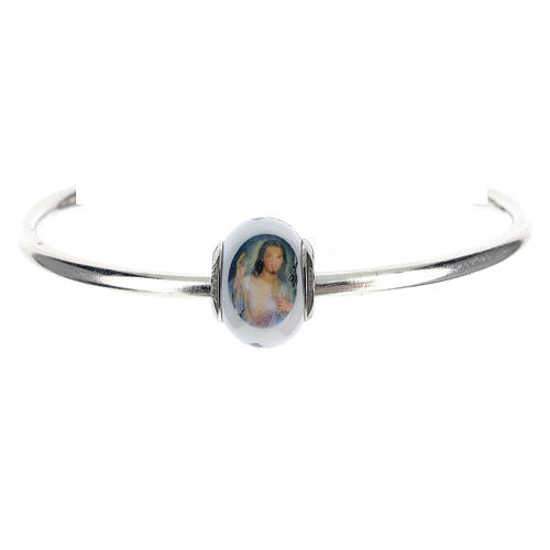 Bead charm of Divine Mercy Jesus for bracelets Murano glass 925 silver 1