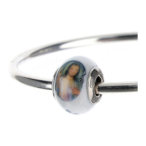 Bead charm of Divine Mercy Jesus for bracelets Murano glass 925 silver 2